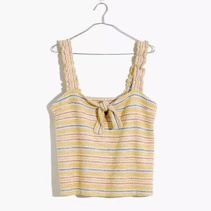 Madewell Texture & Thread Tie-Front Tank Yellow